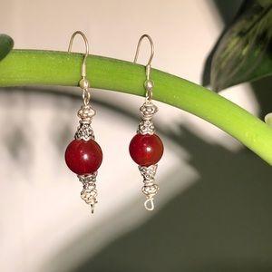 🆕Vintage Handmade Genuine Red Agate Drop earrings